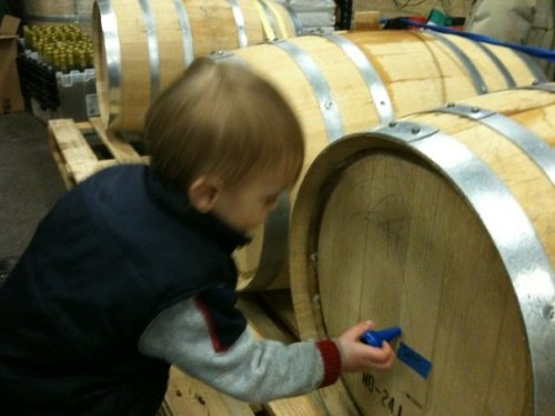 2 year old Master Distiller Lion marking the barrels